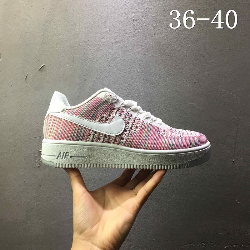 2018 Spring Fashion Nike air force 1 AF1 Flyknit low Pink