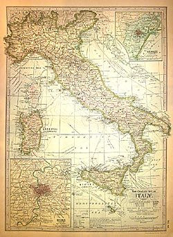 Italy Map circa 1870 Wrapping Paper