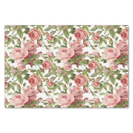 "Pretty Vintage Pink Roses 10"" X 15"" Tissue Paper"