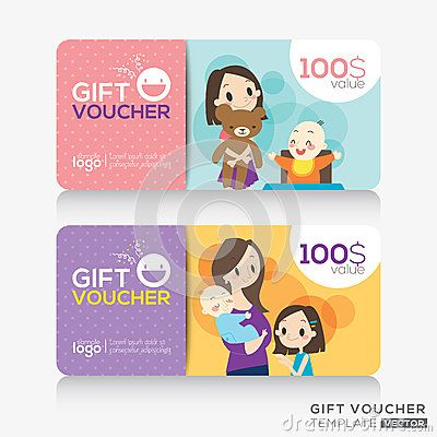 Kids store coupon voucher or gift card design template fashion - coupons design templates