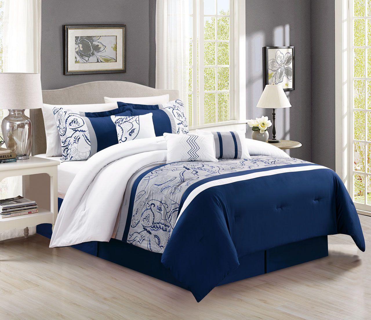 7 Piece Navy White Paisley Comforter Set Navy Bed Set Comforter Sets Bed Comforter Sets