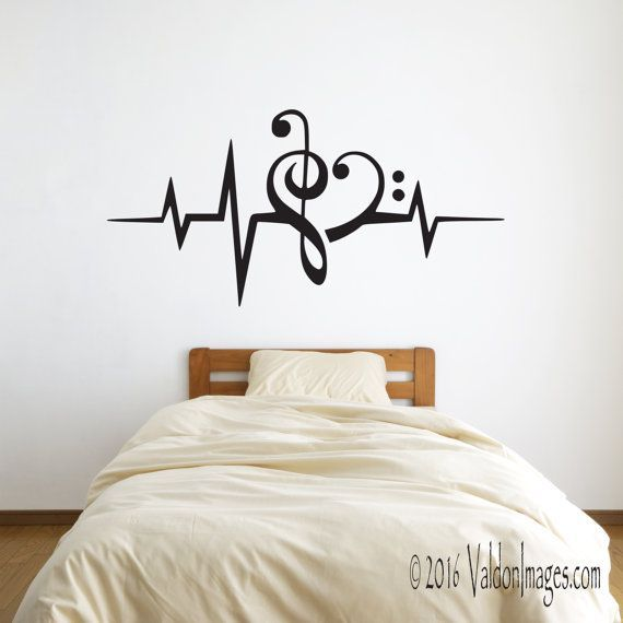 Heartbeat Music Note Wall Decal Music Wall Decal By ValdonImages  #musiclover #homedecor #teenroomdecor Part 75