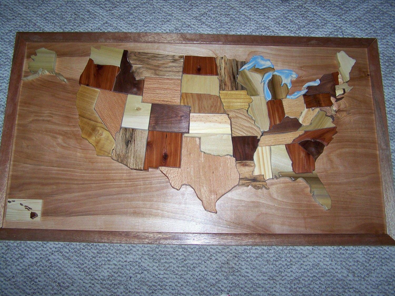 Wood United States Map.Intarsia Orginal Wooden United States Map 24x42 By Woodenartbytom