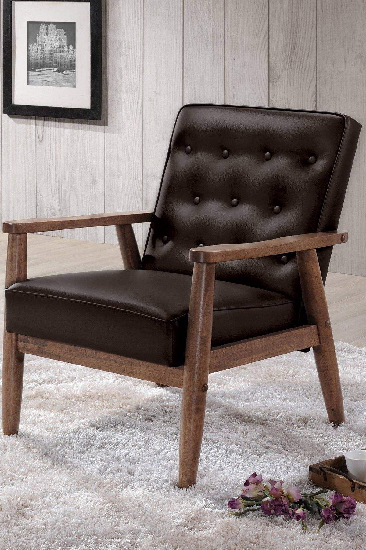 Sorrento Mid Century Retro Modern Brown Faux Leather Upholstered Wooden  Lounge Chair On @HauteLook