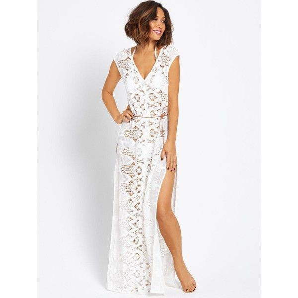 Myleene Klass Crochet Beach Maxi Dress (735 NOK) ❤ liked on Polyvore featuring dresses, white v neck dress, cotton summer dresses, white crochet dress, cotton maxi dress and white summer dresses
