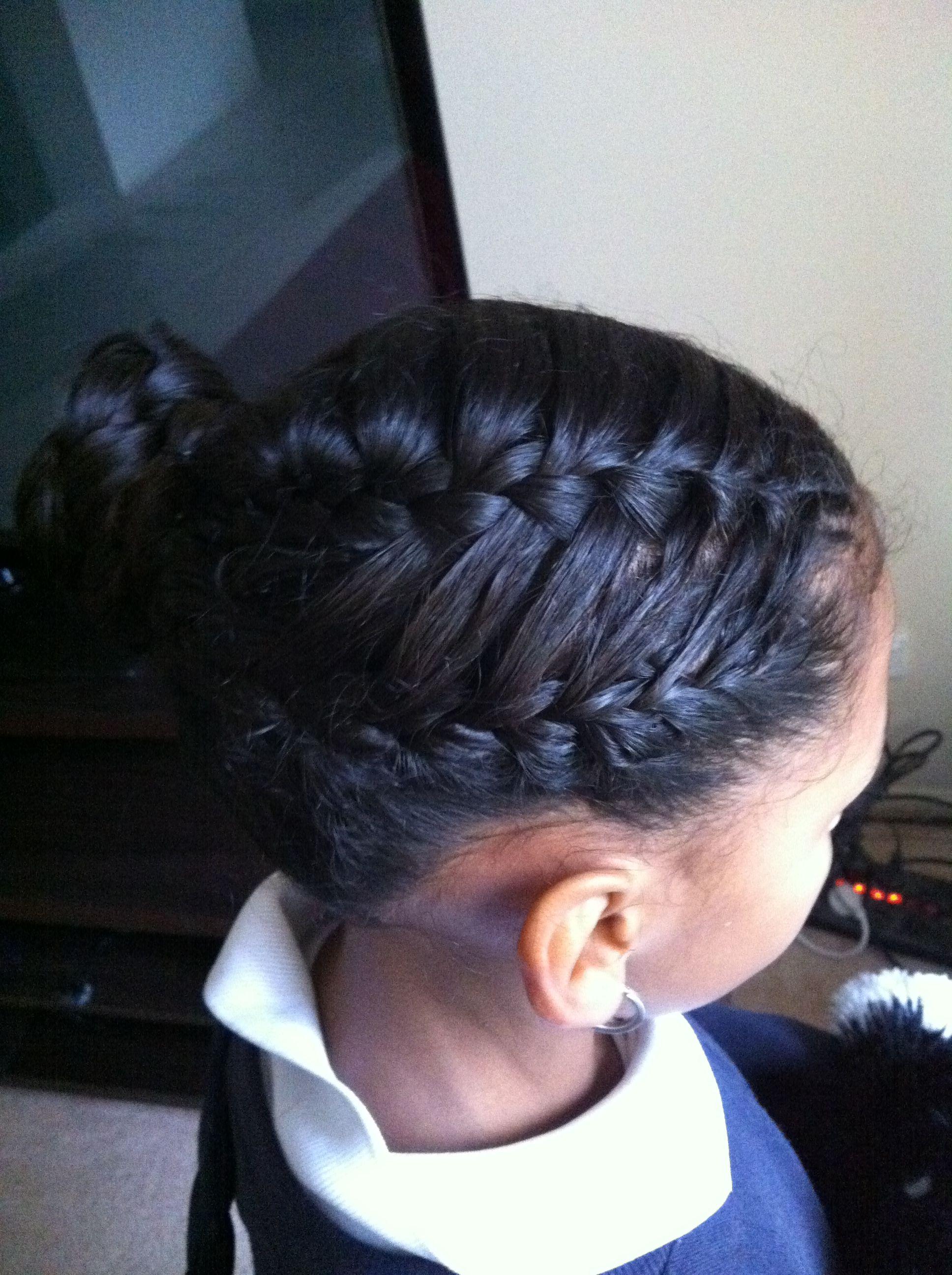 Waterfall French Braid Into A Bun Hair Styles Braids For Black Hair Braids For Black Women