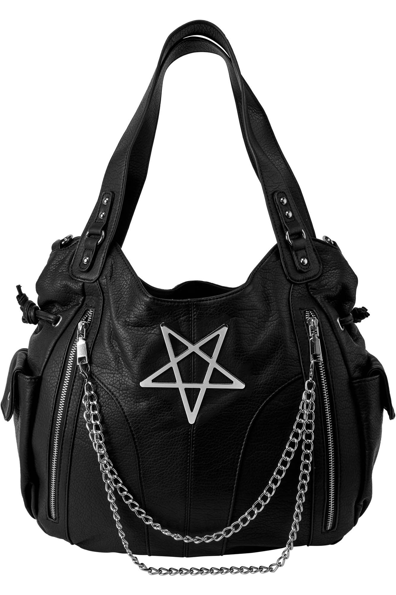 Banned Pentagram Illuminati Large Straps Rockabilly Punk Gothic Handbag BLACK