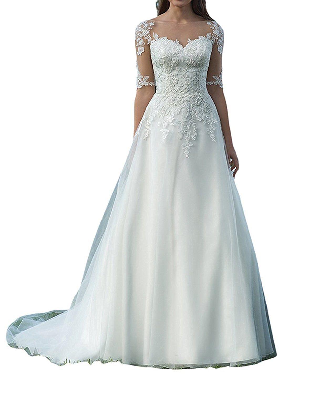 Beyonddress Damen Hochzeitskleider Mit Ärmel Prinzessin