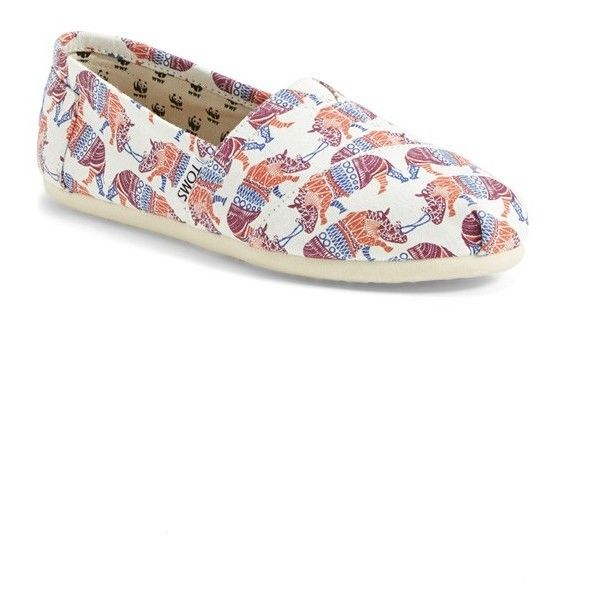 TOMS 'Classic - Rhino' Alpargata Slip-On ($59) ❤ liked on Polyvore featuring shoes, print shoes, patterned shoes, multi color shoes, multi colored shoes and colorful shoes