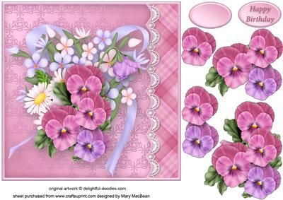Pansy Posy Lacy Border Card Front on Craftsuprint - View Now!