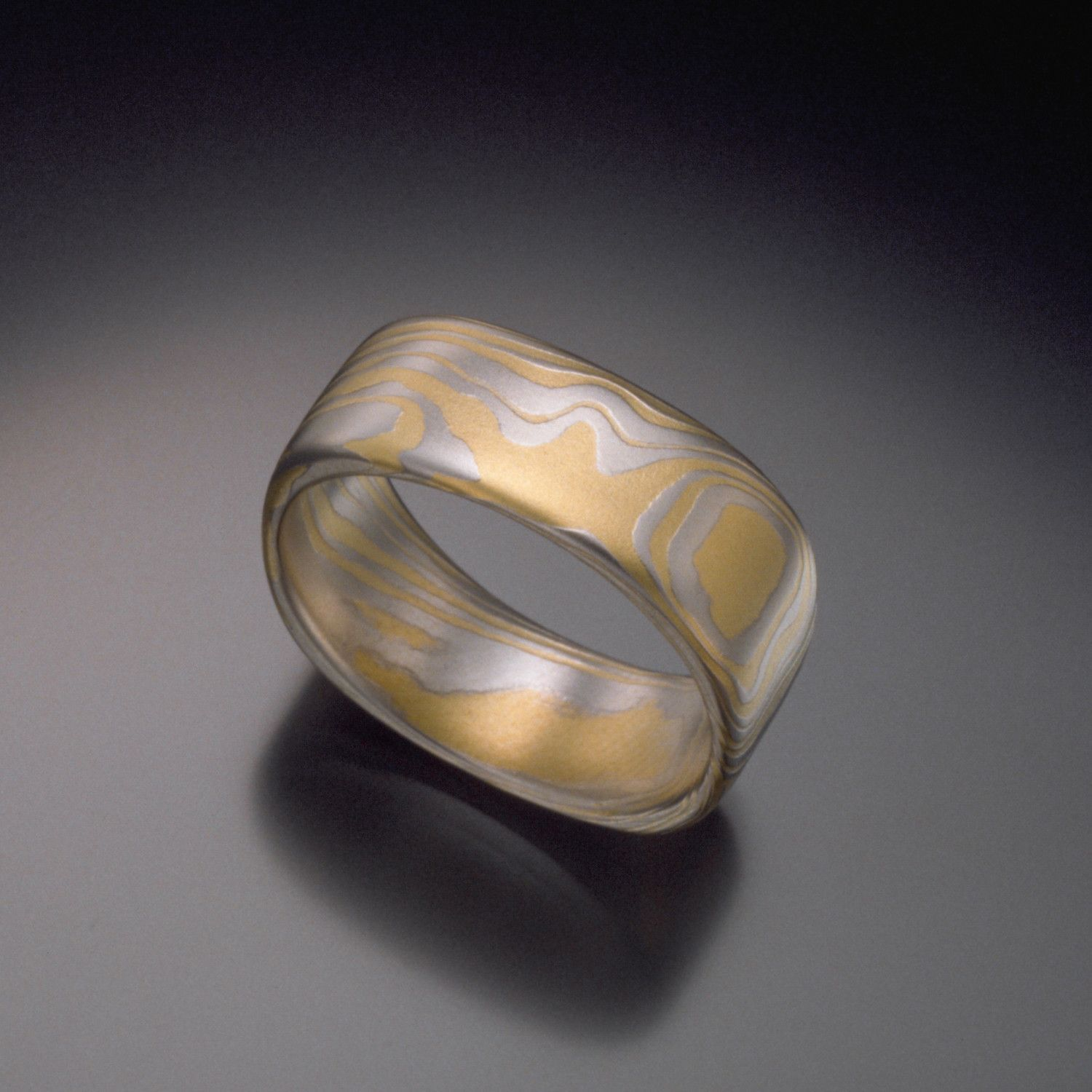 Square 6mm Platinum 18K Gold Mokume Gane Ring TERRA Wedding