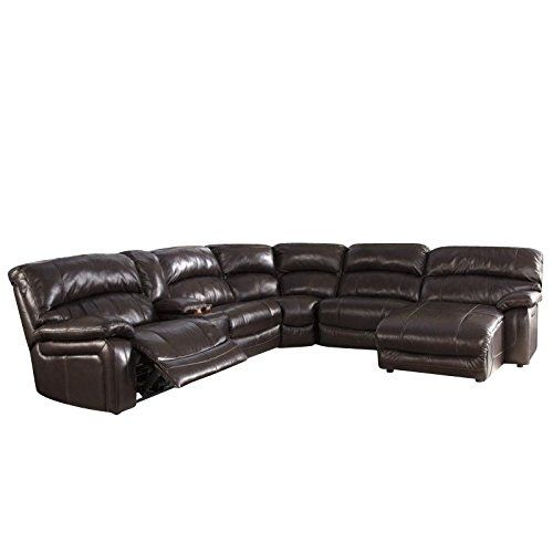 Enjoyable Ashley Furniture Damacio Leather Console Reclining Sectional Pdpeps Interior Chair Design Pdpepsorg