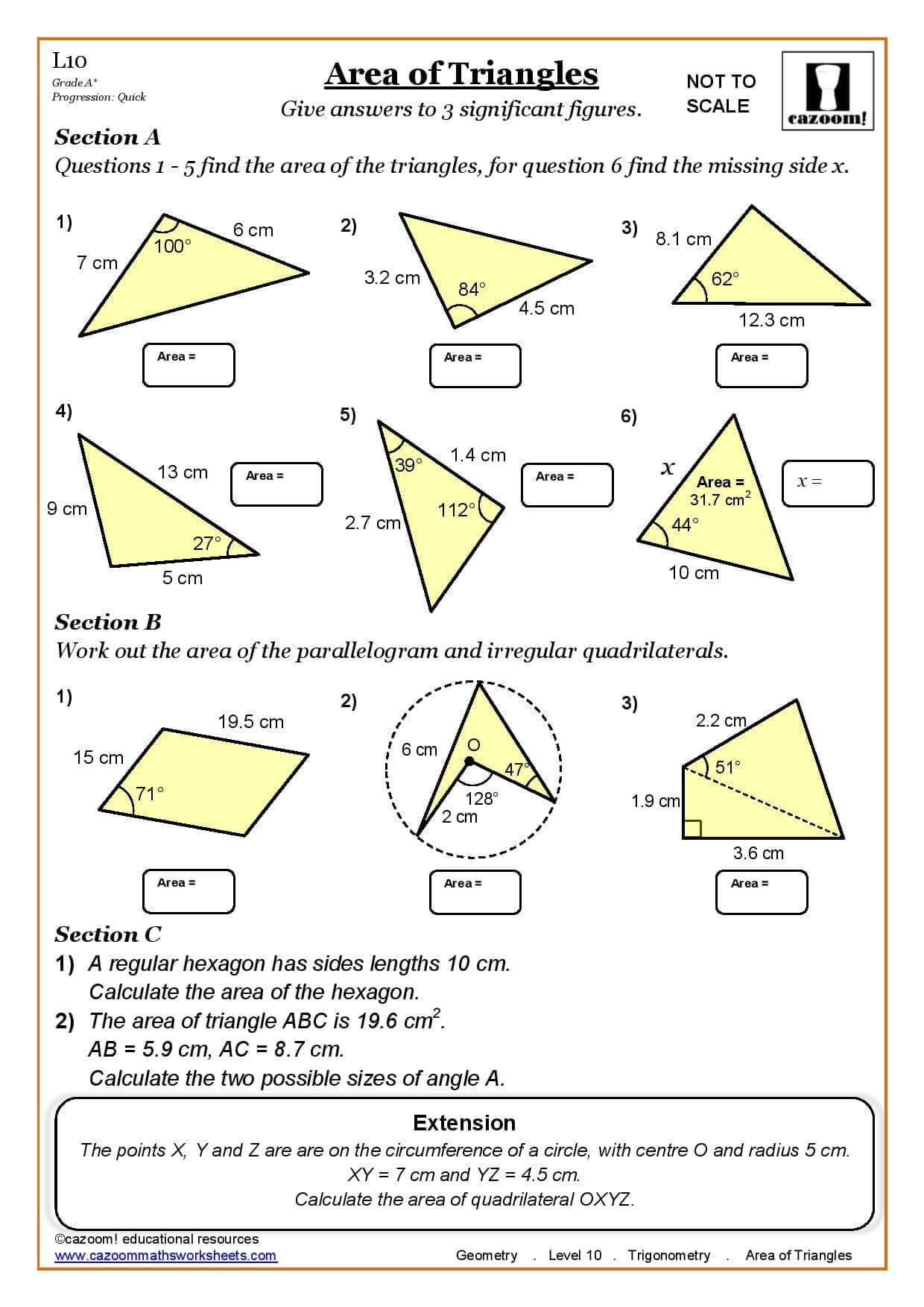 Area Of Triangles Maths Worksheet