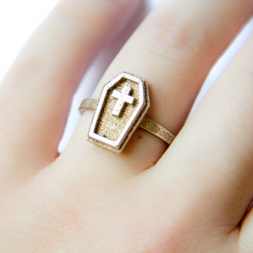 gothic jewelry coffin ring. Spooky horror inspired goth fashion accessories.