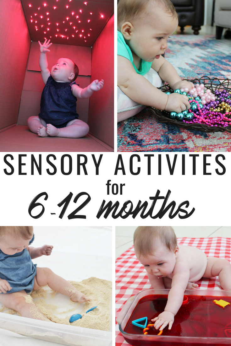 Sensory Activities for babies 6 to 12 months. Great activities to work on your babies fine motor skills too! A few of these are even edible which are always a hit with our little one! Pin and Save!