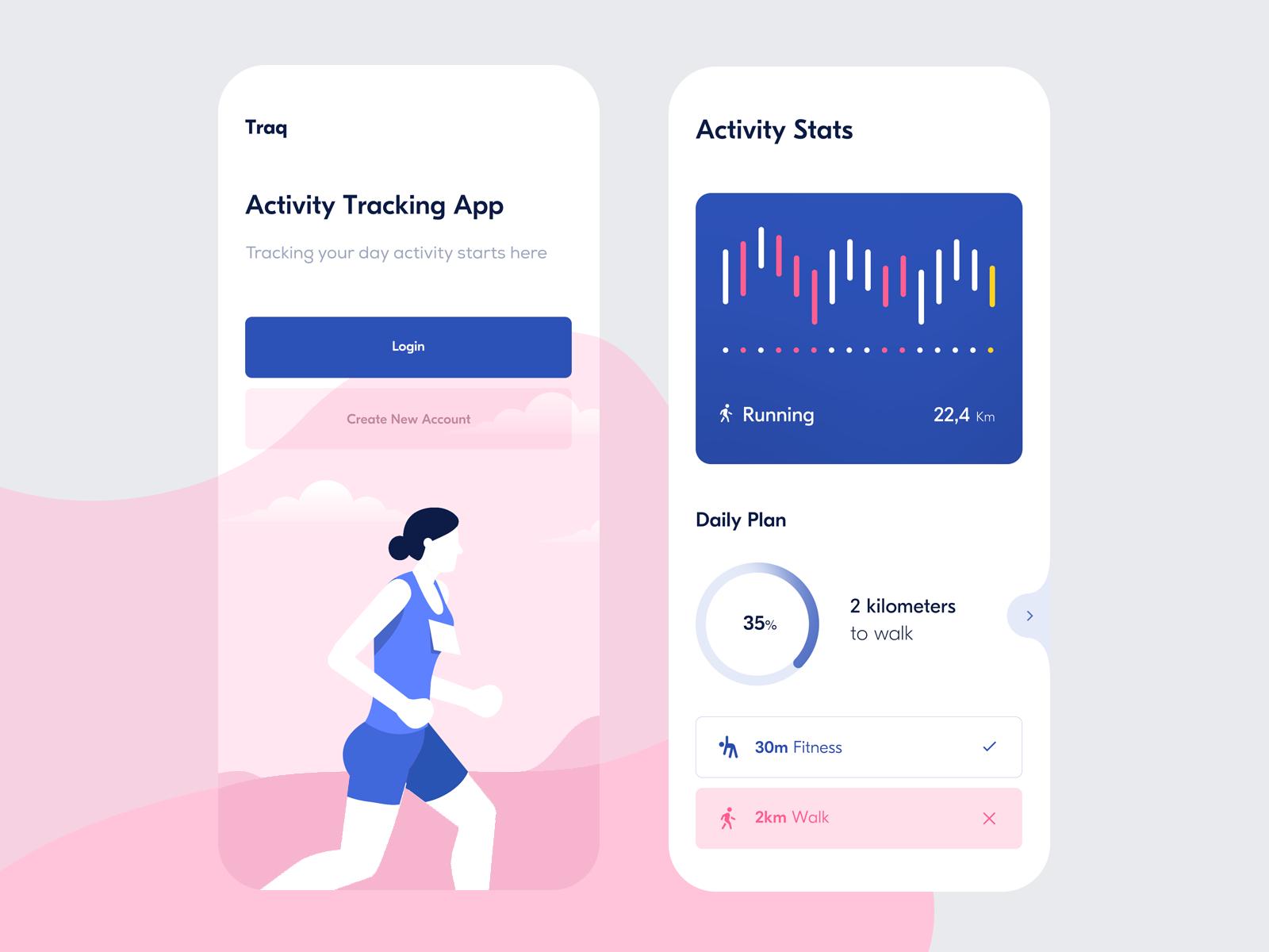 Traq — Home Screen & Activity Stats Activities