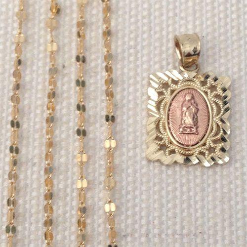 10k Yellow Rose Gold Religious Virgin Mary Pendant Singapore chain