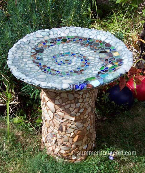 Beach Pottery Ideas: Beach Pottery And Beach Glass Birdbath By Helen And Will