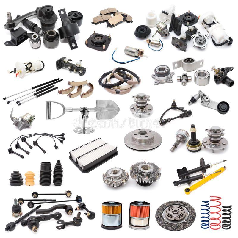 Set Of Auto Parts A Lot Of Auto Spare Parts Over White Spon Parts Auto Set White Spare Ad Aftermarket Car Parts Used Car Parts Car Accessories