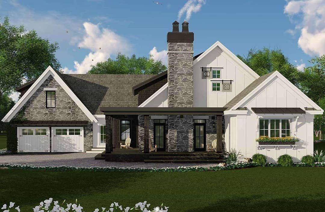 Americas Best House Plans On Instagram This Unique Modern Farmhouse Plan Has 2483 Sq Ft 3 Bedr In 2020 Modern Farmhouse Plans House Plans Farmhouse Best House Plans