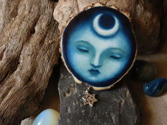 Moon Goddess - painting on wood - hand painted wooden wall hanging by Amaya de la Hoz
