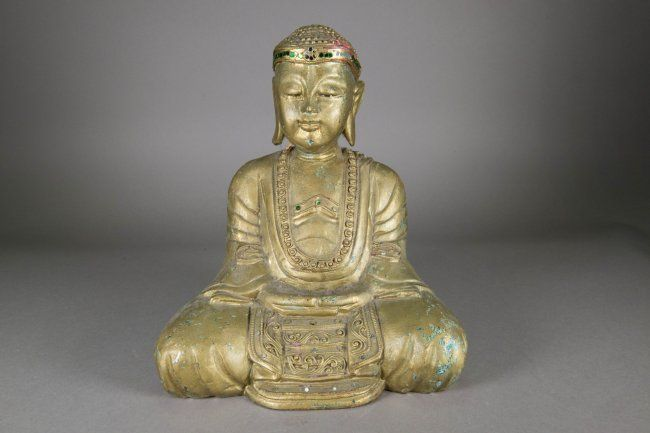 Chinese Gilt Wooden Carved Buddha Figure.
