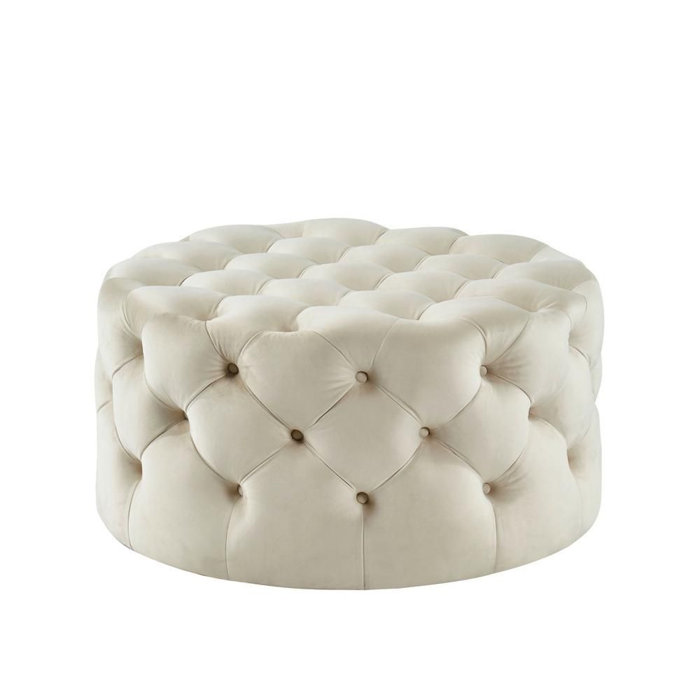 Incredible Furniture Of America Moore Beige Round Button Tufted Ottoman Inzonedesignstudio Interior Chair Design Inzonedesignstudiocom