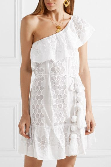 Summer One-shoulder Crocheted Cotton-voile Mini Dress - White Miguelina WldmT9F