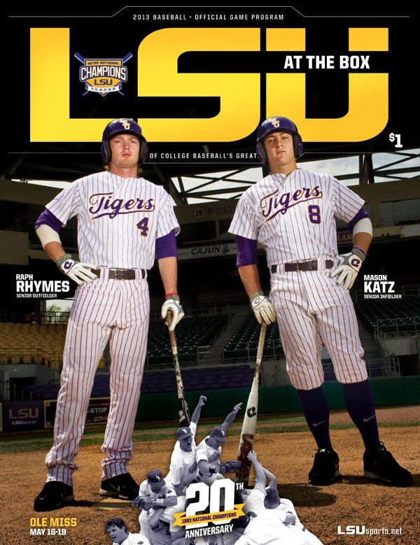 The Final 2013 Game Program Cover Featuring Seniors Mason Katz Raph Rhymes Lsu College Baseball Lsu Tigers