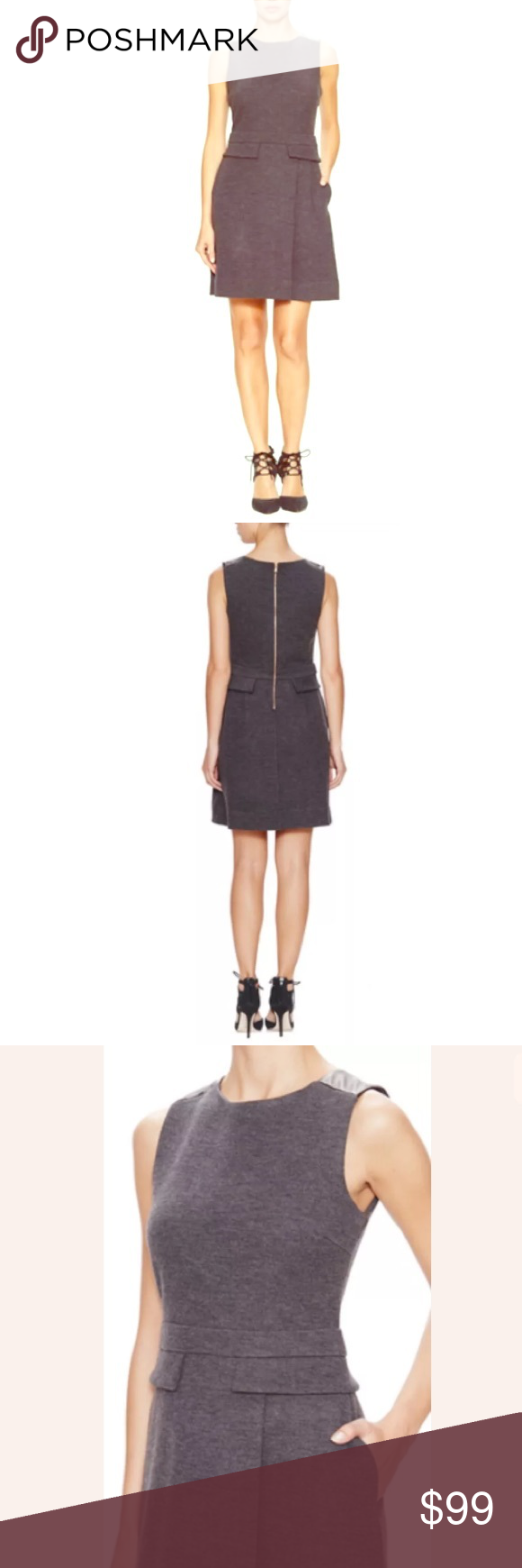 Marc Jacobs Milly Milano Wool Leather Dress Great dress for layering this fall/winter! Marc Jacobs Dresses Midi