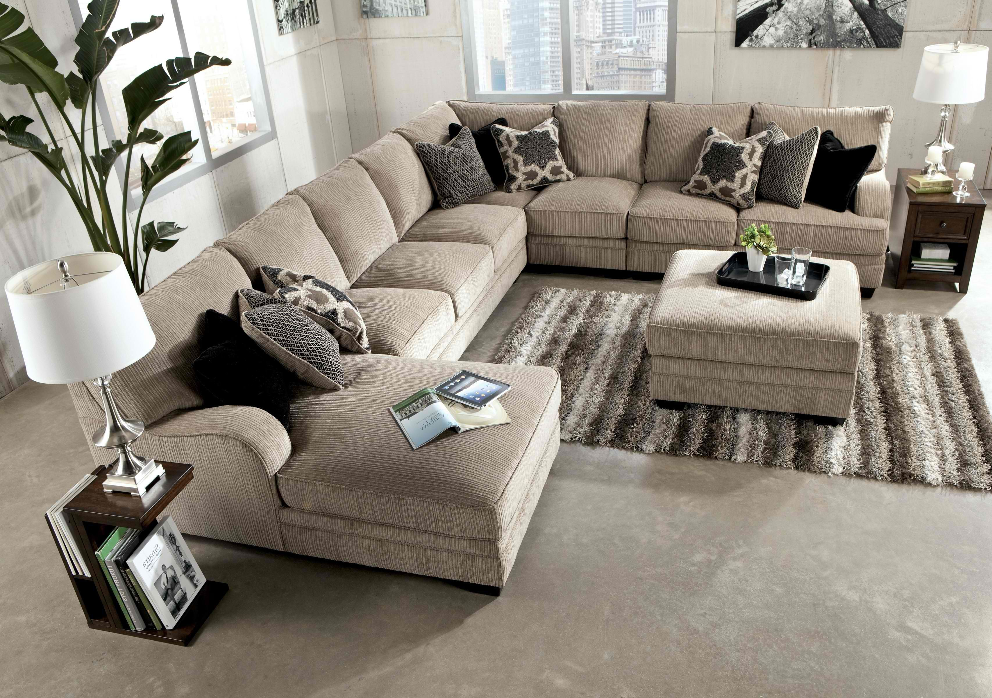 Best Katisha Platinum 5 Piece Sectional Sofa With Left Chaise 400 x 300