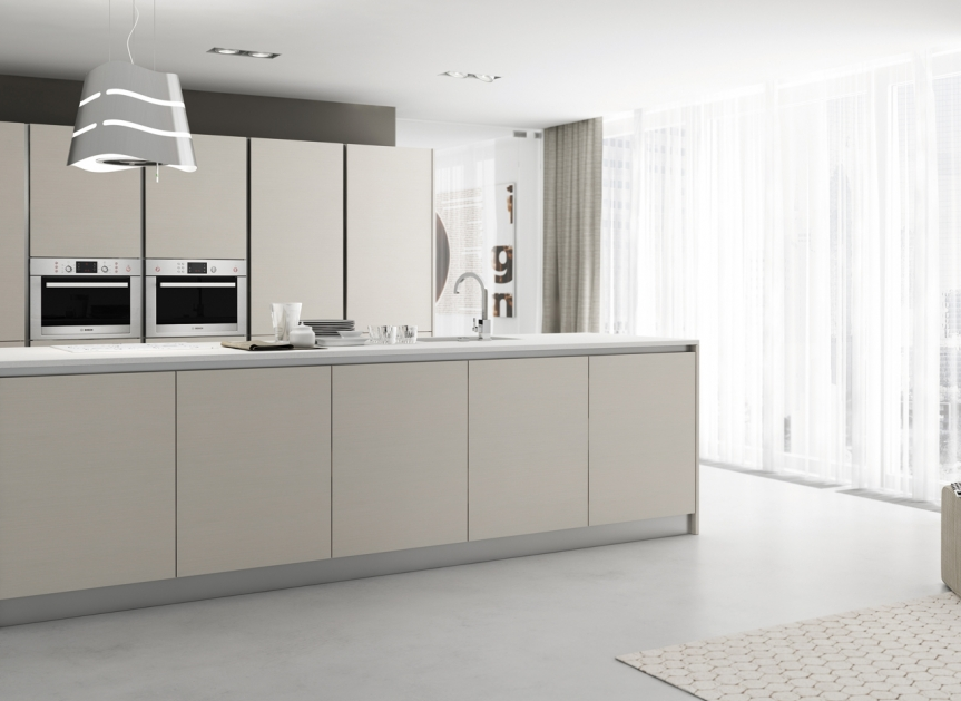 Modern Kitchen Doors white matte finish, simple form and handle-less cabinet doors hans