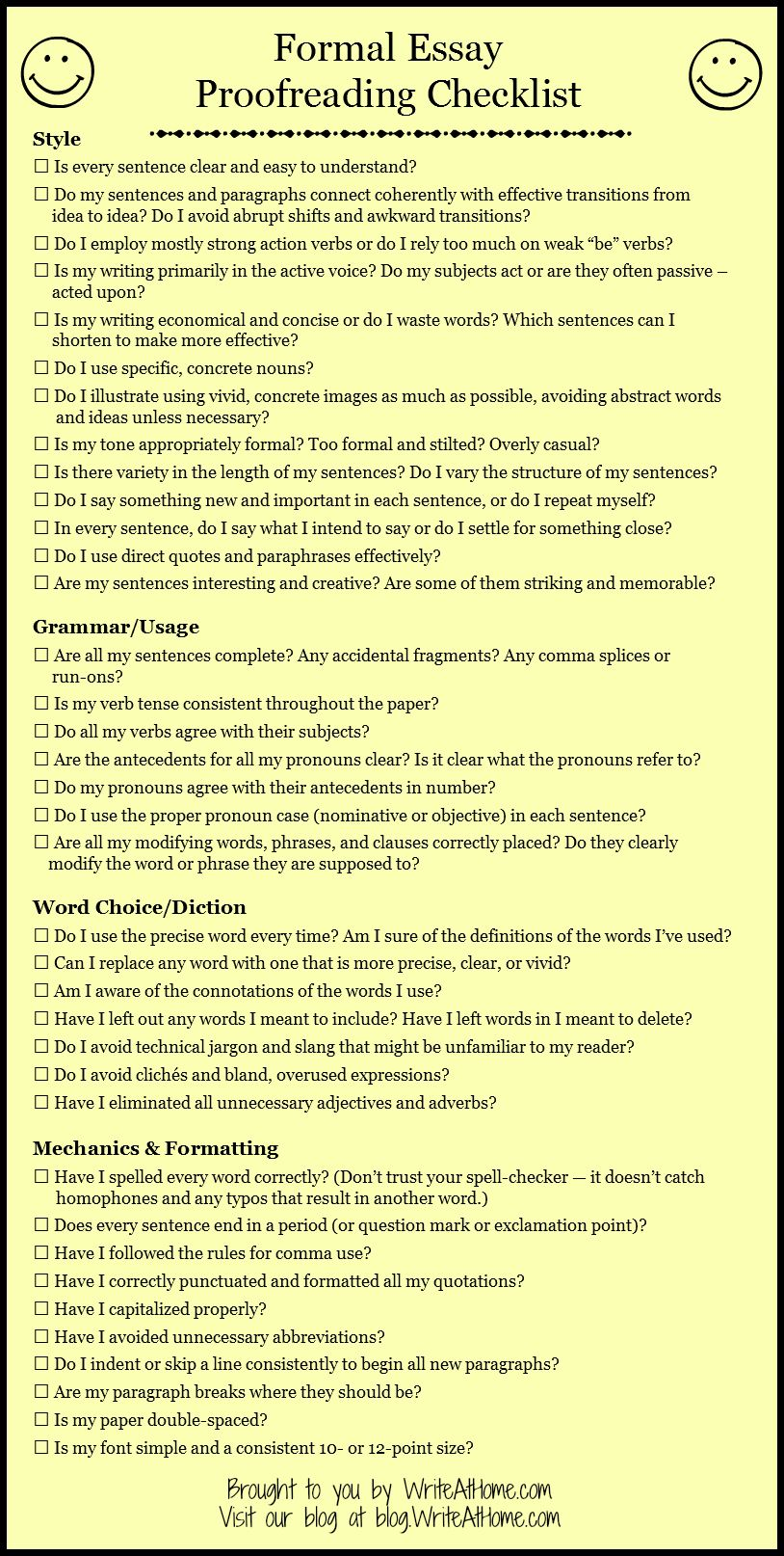 Basic Essay Proofreading Checklist Could Make Into A Rubric  Basic Essay Proofreading Checklist Could Make Into A Rubric Science Assignment Helper also English Essay Topics For College Students  Thesis Statement Argumentative Essay