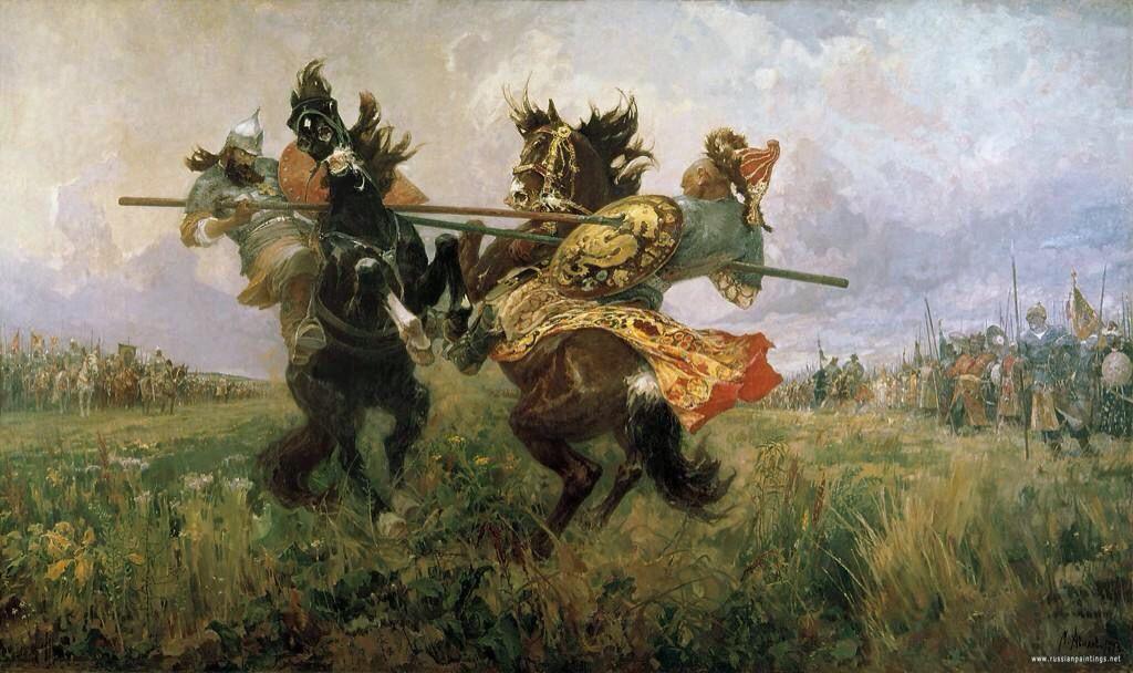 'Duelo en el campo de Kulikovo' de Avilov Mikhail (1943)