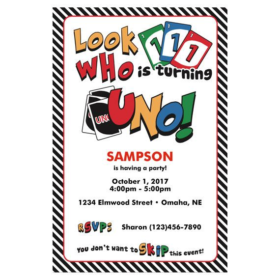 Child Birthday Invitation - Uno Card Game - First Birthday Editable PDF File