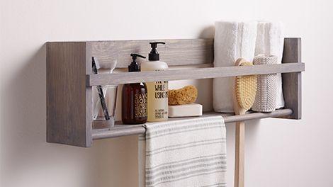 Houten badkamer pronkrekje opbergruimte badkamer