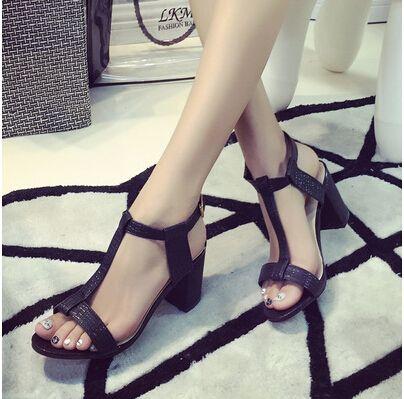 Economico 2015 donne di estate tacchi alti sandali tacco di spessore open toe  scarpe col tacco e9df6e5c89fe