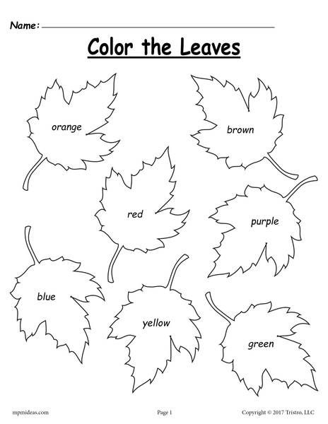 Autumn coloring pages for preschoolers ~ FREE Fall Leaf Color Words Worksheet | preschool1 | Fall ...