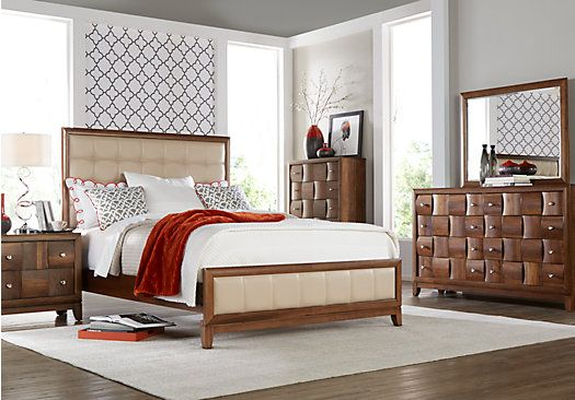 Rooms To Go Bedroom Sets Queen shop for a ashdale terrace queen walnut 5pc upholstered bedroom at