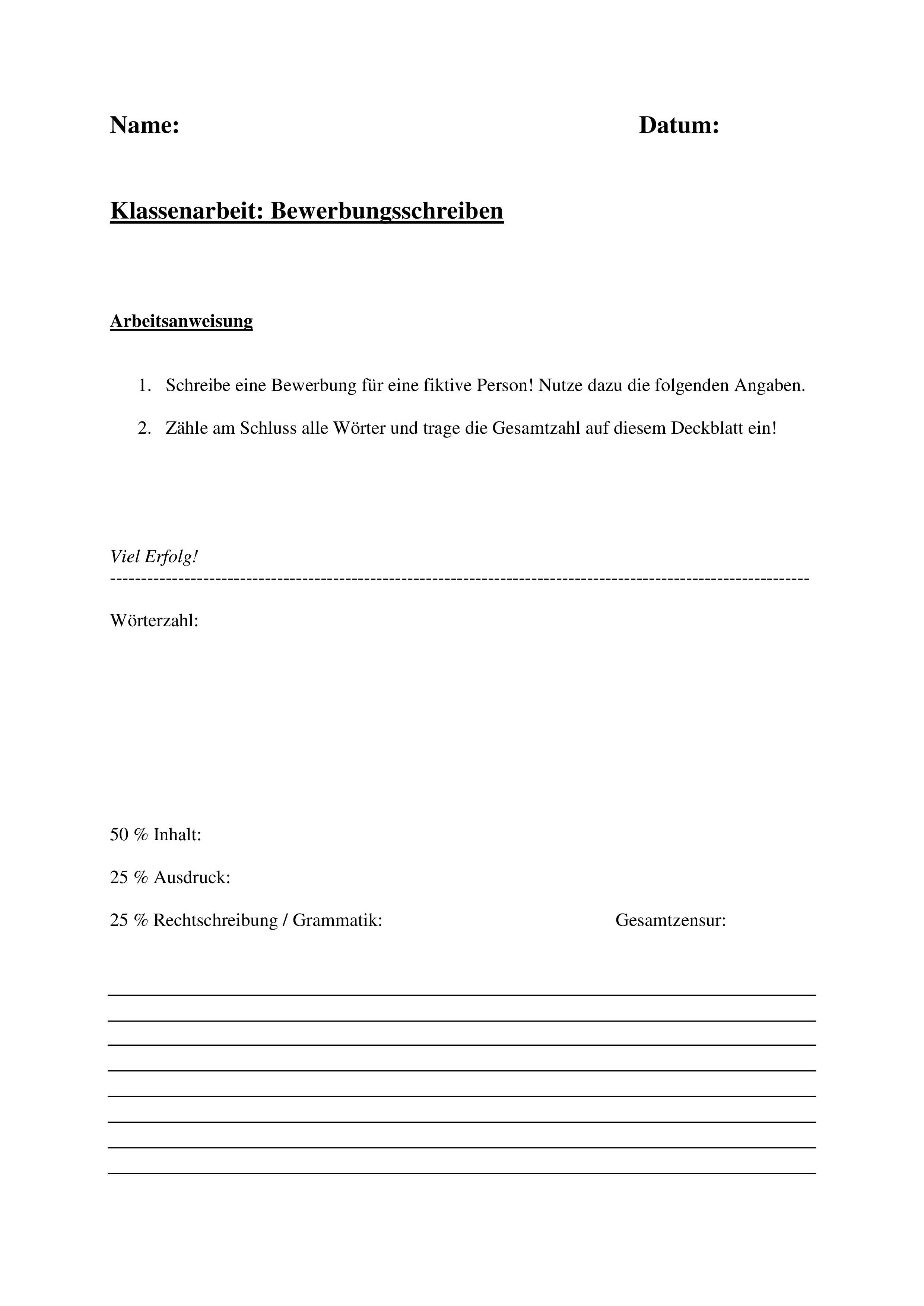 Klassenarbeit Bewerbung Einer Fiktiven Person Anschreiben Unterrichtsmaterial In Den Fachern Arbeitslehre Deutsch Klassenarbeiten Anschreiben Bewerbung