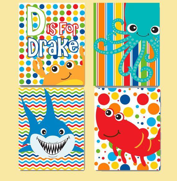 Under The Sea Nursery Art Personalized 4-Pack by PlayOnWordsArt ...