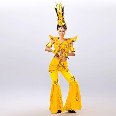 観音菩薩古典的な民族舞踊のステージ衣装 グループのダンスの服劇場コスチューム