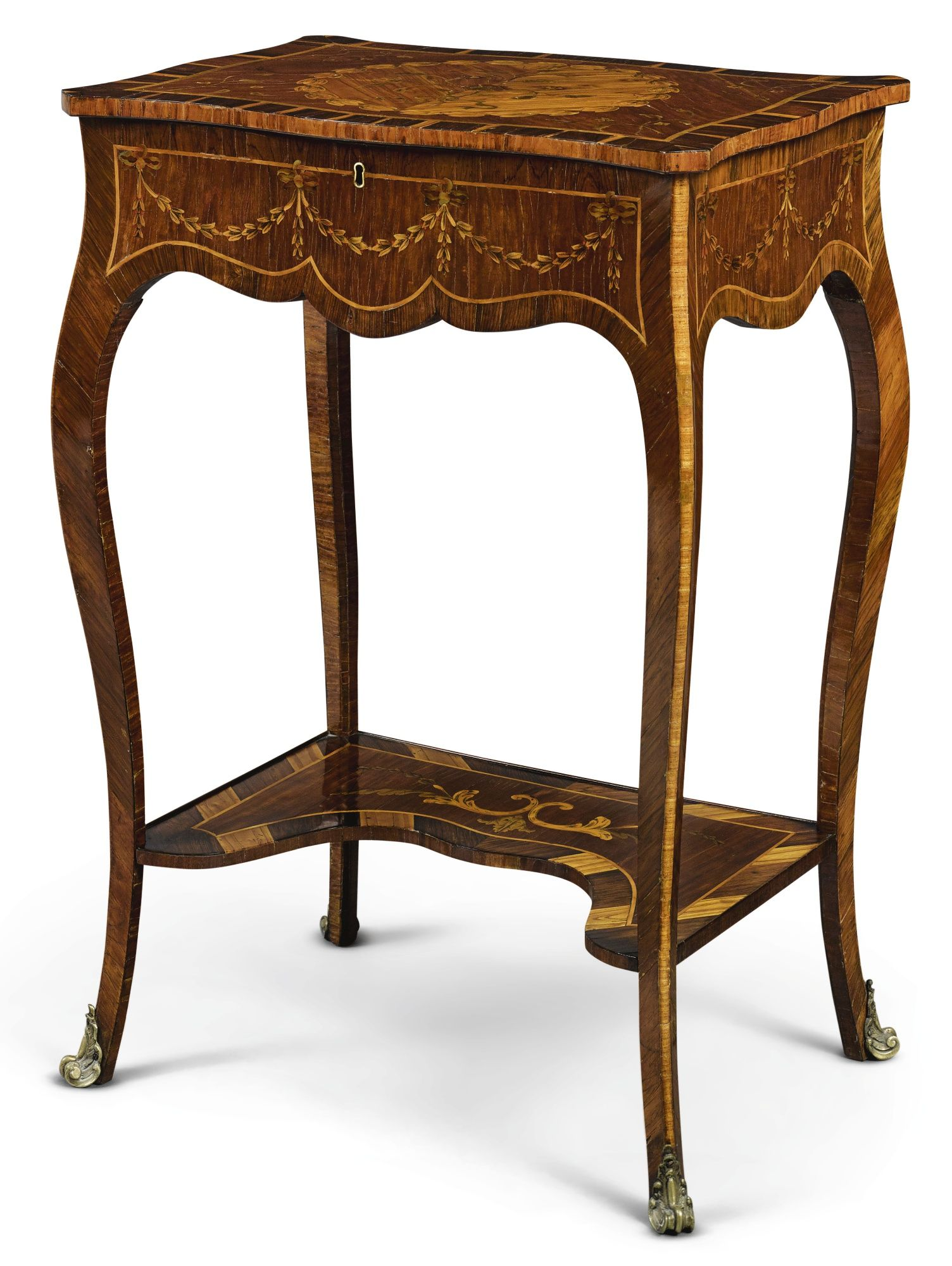 langlois furniture. C1760 A George III Rosewood, Satinwood, Fruitwood And Marquetry Work Table Attributed To Pierre Langlois Furniture