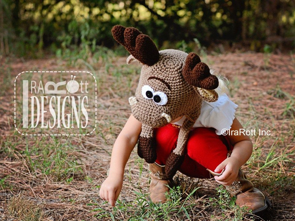 Moose Animal Hat Crochet Pattern for Babies Kids and Adults by ...
