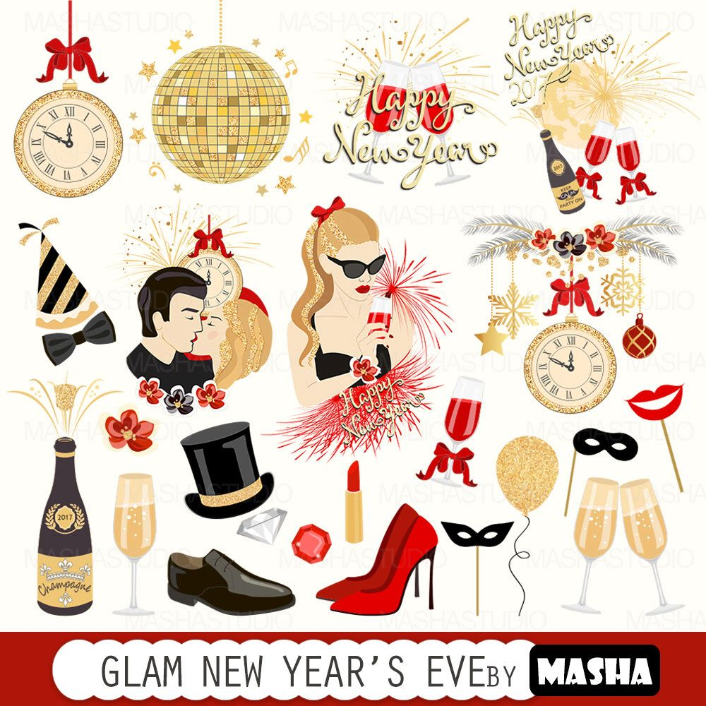 "New Year's Eve clipart ""Glam New Year's Eve clip art"