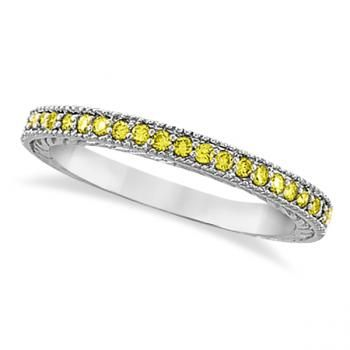 Fancy Yellow Canary Diamond Stackable Ring Band 14kt White Gold 0 31ct