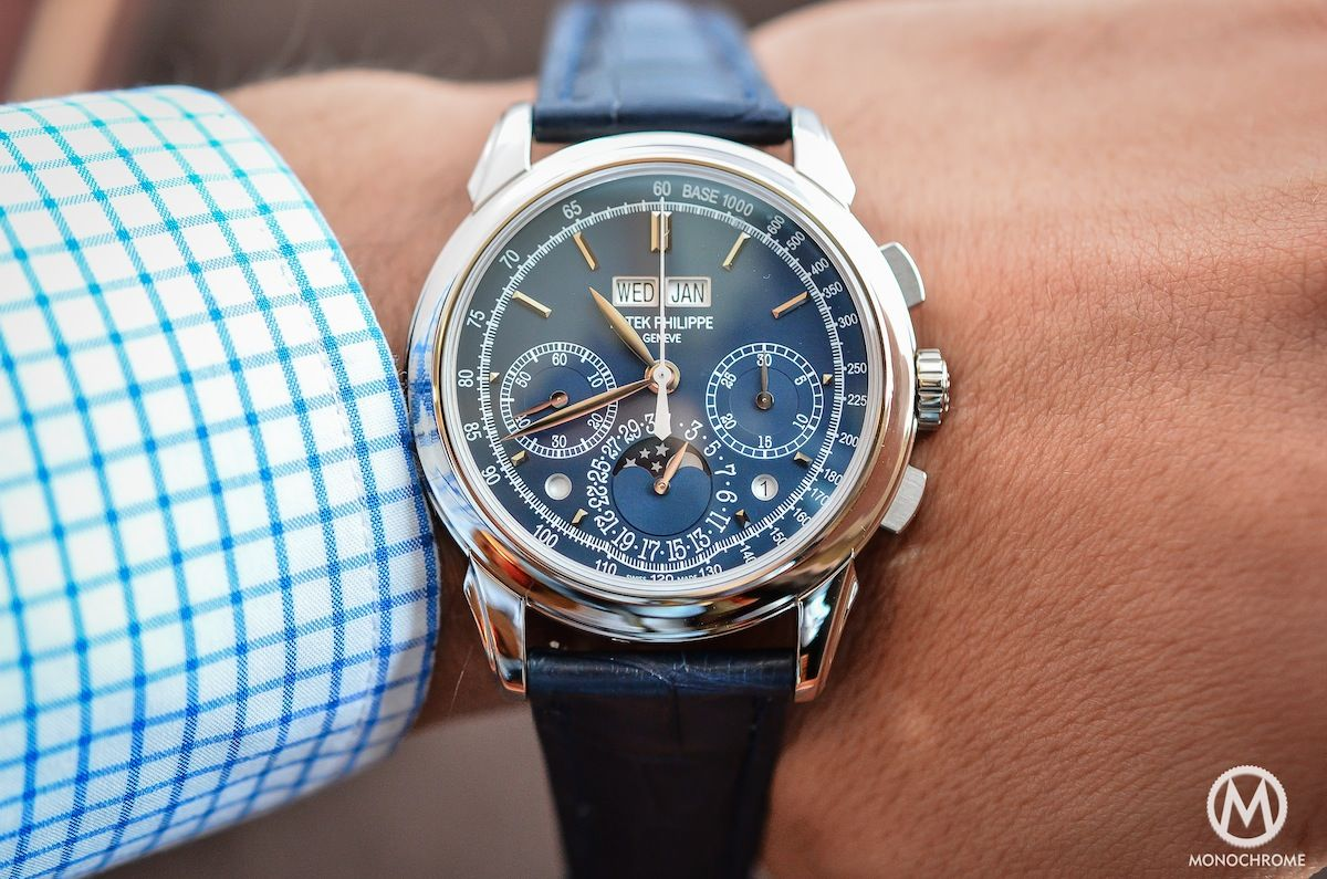 Patek Philippe Chronograph Perpetual Calendar Blue 5270G. Now here's a gorgeous watch I'll never be able to afford. This gorgeous thing costs $193,000.