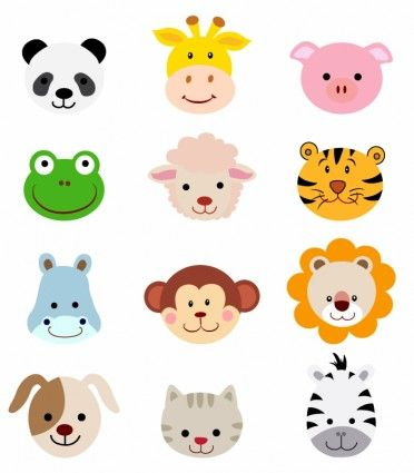 Animal Faces Set Cartoon Animals Animal Clipart Animal Faces