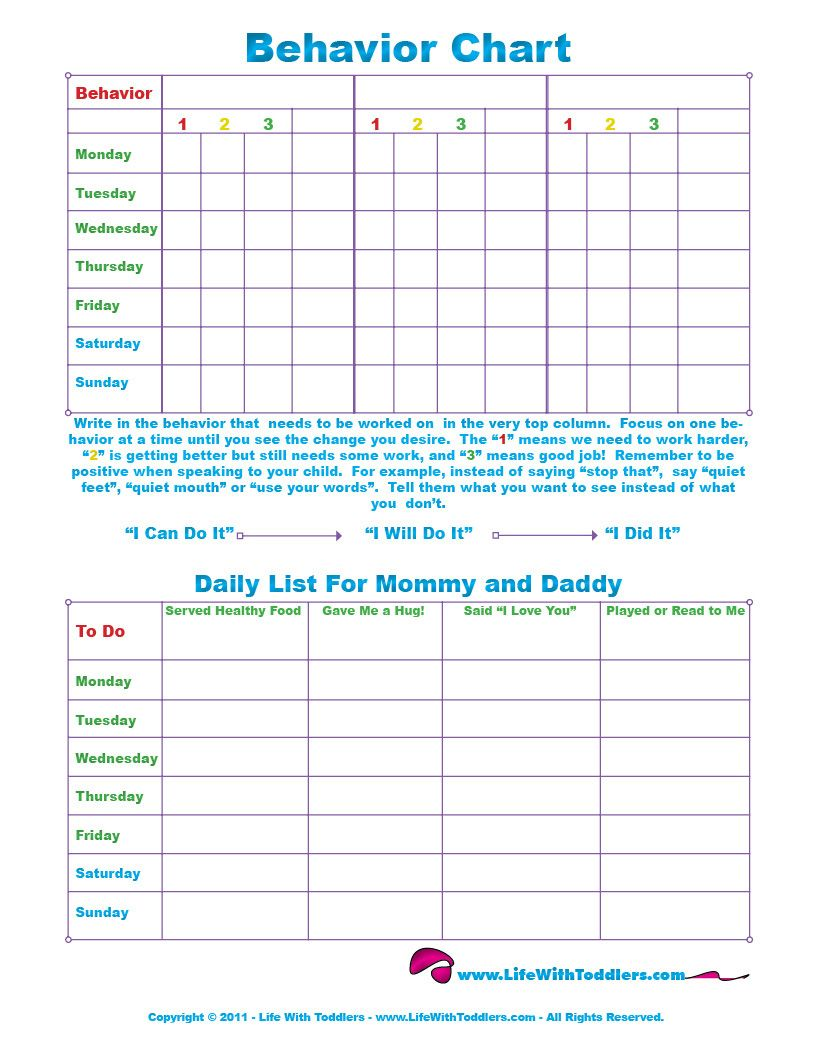 Free printable toddler behavior chart for 1 2 3 4 and 5 year olds