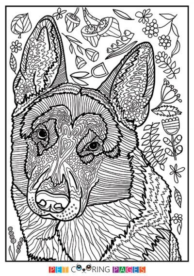 German Shepherd Dog Coloring Page | coloring pages | Pinterest ...